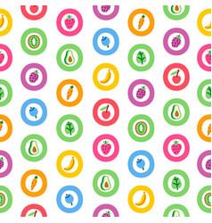 veggies and fruits cartoon abstract pattern vector image