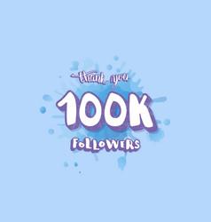 100k followers social media template vector