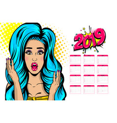 2019 calendar sexy woman pop art vector
