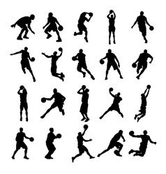 25 Basketball Black Silhouette vector image