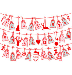 advent calendar with christmas bags set vector image