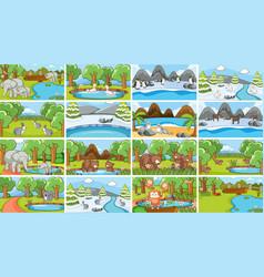 background scenes animals in wild vector image