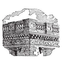 balustrade lathe-turned vintage engraving vector image