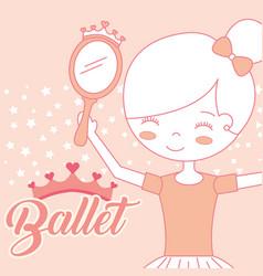 beautiful ballerina with mirror accessory ballet vector image