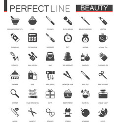 Black classic web icons set beauty and cosmetics vector