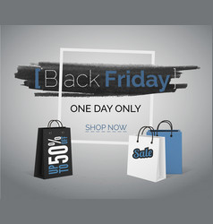 Black friday blue sale banner with bags and frame vector