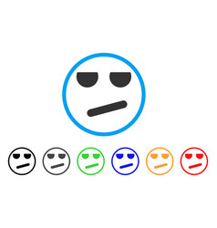 Bored smile rounded icon vector