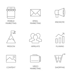 Business marketing outline icons vector image