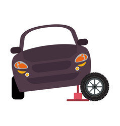 car on hydraulic with tire wheel vector image