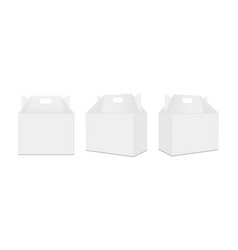 Carry boxes with handle front and side view vector