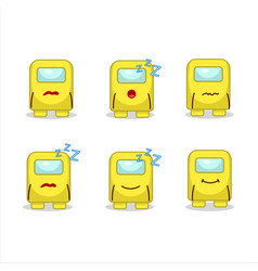 Cartoon character among us yellow with sleepy vector