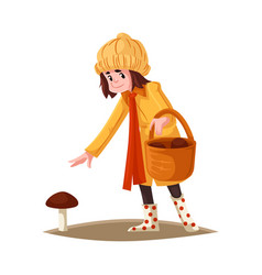 cartoon girl kid collecting mushrooms vector image