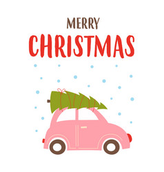 christmas card with cute car and tree vector image