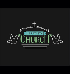 church s logo with hand lettering and cross and vector image