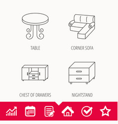 Corner sofa table and nightstand icons vector