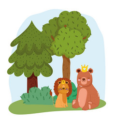 cute animals lion and bear with crown on grass vector image