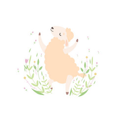 Cute little lamb jumping happily adorable sheep vector
