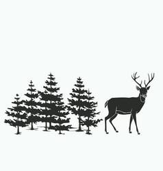 Deer in woods vector
