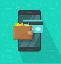 electronic wallet on smartphone icon flat vector image