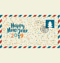 Envelope with words happy new year and confetti vector