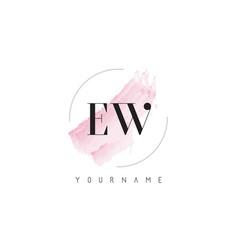 Ew e w watercolor letter logo design with vector