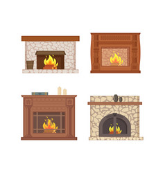 Fireplace with bucket and shelf for vase decor vector