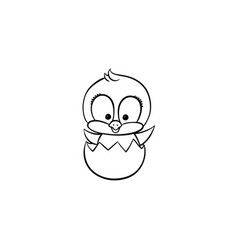 Flat cute chick hatching monochrome vector