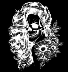 girl with skeleton make up hand drawn vector image