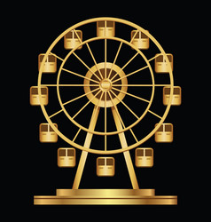 Gold ferris wheel logo template on a black vector