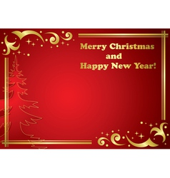 gold frame on red background - christmas vector image