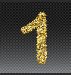 Gold glittering number one shining golden vector