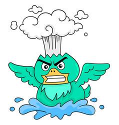 Green bird was having an angry face hot head vector