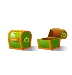 Green Chest set for game interface vector image