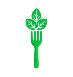 Green fork and leaf like vegan food vector