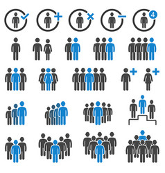 group people icons set vector image