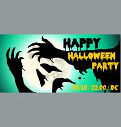 Halloween party horror hands poster design vector