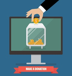Hand donating money by online payments vector