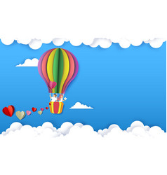 Happy couple in hot air balloon paper cut vector