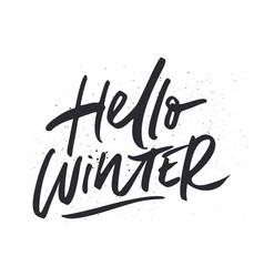 hello winter calligraphy vector image