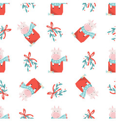 Holiday seamless pattern with cute cows and vector