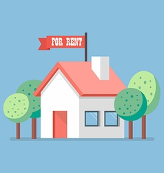 House for rent flat icon vector image