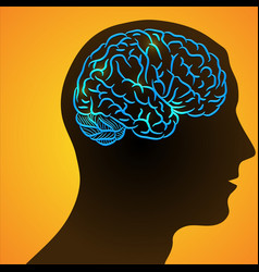 human head and ill brain vector image