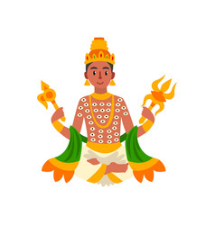 Indra indian god of thunder lightning and war vector
