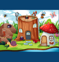 insect next to enchanted house vector image