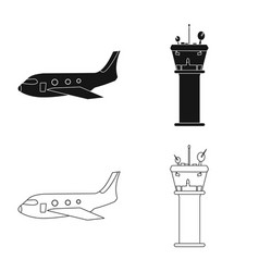 isolated object of airport and airplane logo set vector image