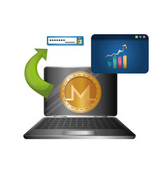 Laptop and webpage template with monero vector