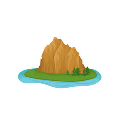 large rocky mountain and green fir trees on island vector image