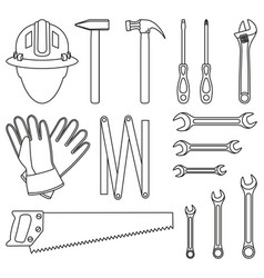 Line art black and white 15 handyman tools set vector