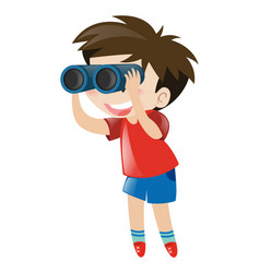 Little boy using binocular vector