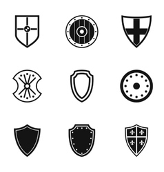 Military shield icons set simple style vector